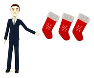Cartooon businessman with christmas socks. 3d render of cartooon businessman with christmas socks Stock Photo