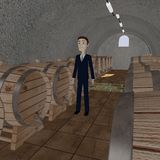 Cartooon businessman in wine cellar Stock Image