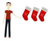 Cartooon man with christmas socks Stock Photography