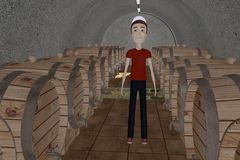 Cartooon man in wine cellar Stock Images