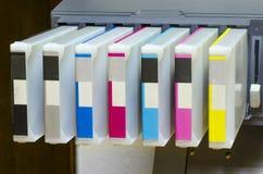 Cartouche d'imprimante de jet d'encre de grand format photographie stock libre de droits
