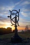 Cartouche d'Océanie - sculpture par la mer Photographie stock libre de droits