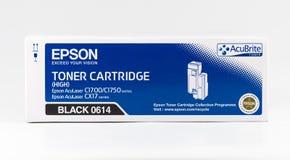 Cartouche de toner noire d'Epson sur un fond blanc Photographie stock