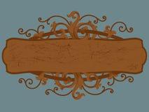 Cartouche di legno del segno Fotografie Stock Libere da Diritti