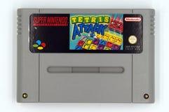Cartouche superbe de jeu du parc de divertissements SNES de Nintendo d'attaque de Tetris image libre de droits