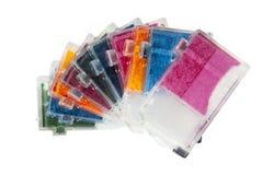 Cartouches d'encre vides colorées d'imprimante à jet d'encre Images stock