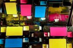 Cartouches de toner pour l'impression laser photos stock