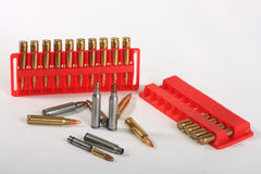 Cartridge. S of calibre 223 Rem, and adapters for use in this weapon of a , calibre 22 Royalty Free Stock Photography