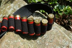 Cartridge Belt. A cartridge belt partially filled with reloaded 12 guage shotgun shells. These are used of skeet shooting, and sporting clays royalty free stock photo