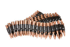 Cartridge Belt. Metal belt with machinegun cartridges on isolated background Stock Image