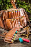 Cartridge belt and bag hunting Stock Image