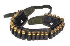 Cartridge belt with a leather belt stock image