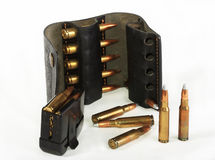 Cartridge of calibre 308 Win - explosive. Explosive cartridges for a rifle, calibre 308 Win, possess huge power and destructive power Royalty Free Stock Photography