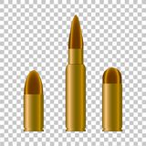 Cartridge case and bullet from weapon.Vector illustration Royalty Free Stock Photos