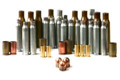 Cartridge case and bullets Stock Photography