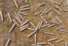 Cartridge cases. On the grass Royalty Free Stock Photos