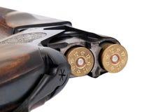 Cartridge-chamber of shotgun. Closeup view Stock Photo