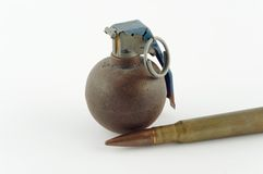 Cartridge and grenade Royalty Free Stock Images
