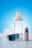 Cartridge inhaler and chamber and mask in room vertical view Royalty Free Stock Photos