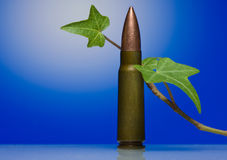 Cartridge and liana stalk- antiwar concept Royalty Free Stock Images