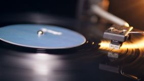 Cartridge and the vinyl disc while playing