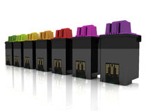 Cartridges alignment. 3d illustration of ink cartridges Royalty Free Stock Image