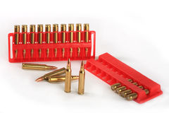 Cartridges of calibre 223 Rem. Possess in the high speed and accuracy that gives confidence to the hunter Stock Photography