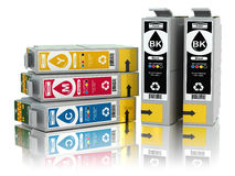 Cartridges for colour inkjet printer. CMYK. Stock Photography