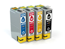 Cartridges for colour inkjet printer. CMYK. Royalty Free Stock Photo