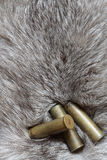Cartridges on fur Stock Image