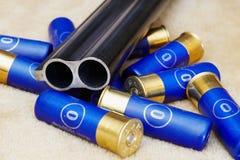 Cartridges and gun barrel Stock Images