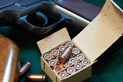 Cartridges from the gun Stock Photos