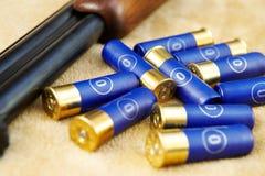 Cartridges for a gun of the hunter Stock Photos