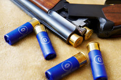 Cartridges in a gun trunk Royalty Free Stock Image