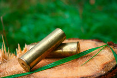Cartridges on hemp. The hunting old cartridges lying on hemp Royalty Free Stock Photography