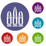 Cartridges icons set. In flat circle reb, blue and green color for web Royalty Free Stock Images