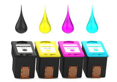 Cartridges for inkjet printer with CMYK paint drops Stock Images