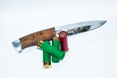 Cartridges and knife Royalty Free Stock Photos