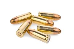 Cartridges of 9 mm pistols ammo, full metal jacket. Isolated Stock Photography