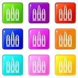 Cartridges set 9. Cartridges icons of 9 color set isolated vector illustration Royalty Free Stock Photos