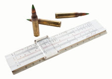 Cartridges and slide rule Stock Photos