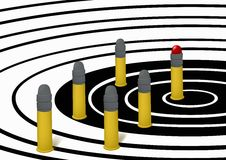 Cartridges on a target Stock Photography