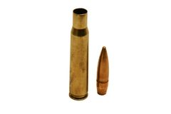 Cartrige and Bullet. Cartridge and bullet isolated on white background Stock Photos