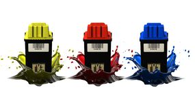 Cartriges and ink. Cartridges and ink splashes for imprint Royalty Free Stock Image