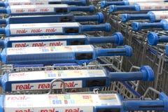 carts реальный супермаркет знака Стоковое Фото
