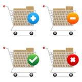carts att shoppa för symboler Royaltyfri Bild