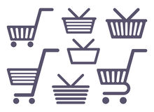 Carts and baskets for shopping Royalty Free Stock Photography