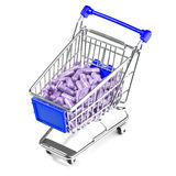 Carts filled with pills. Carts on a white background filled with pills Royalty Free Stock Images