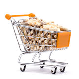 Carts filled with pills. Carts on a white background filled with pills Stock Image