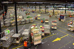 Carts of flowers being sorted and moved at Aalsmeer FloraHolland Stock Photo